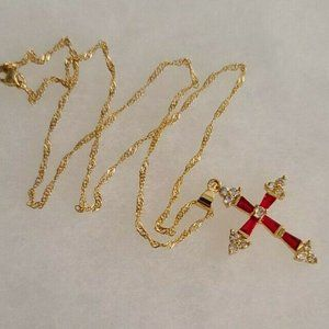 Red Garnet Gold Colored Cross Necklace Pendant